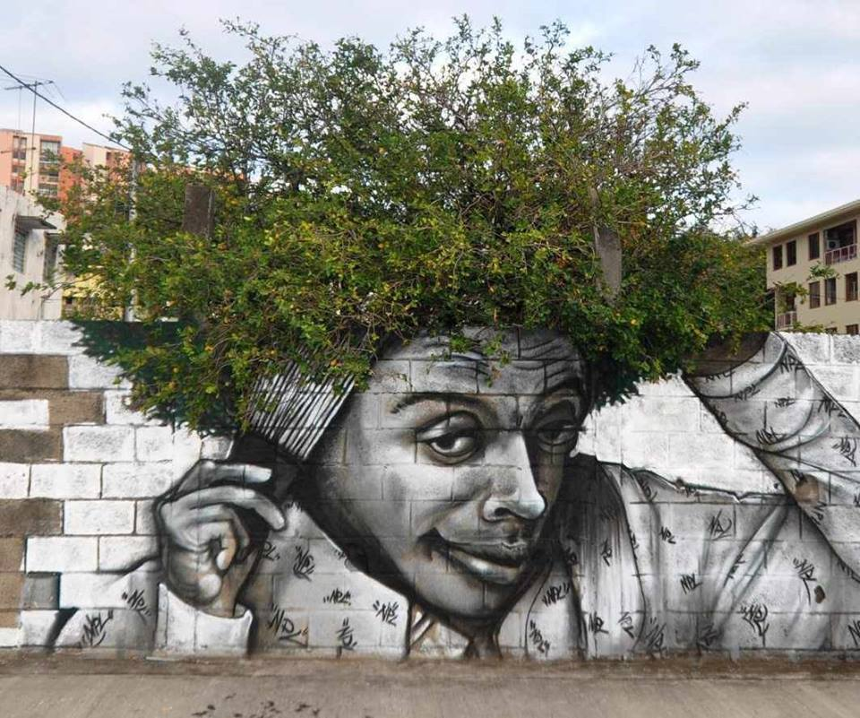 graffiti con plantas
